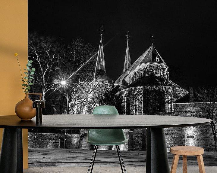 Sfeerimpressie behang: Bergkerk Deventer zwart/wit van Frank Slaghuis