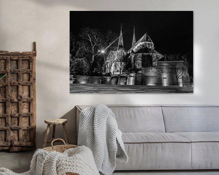 Sfeerimpressie: Bergkerk Deventer zwart/wit van Frank Slaghuis