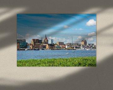 View to the hanseatic town Rostock, Germany van Rico Ködder
