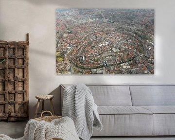 Luchtfoto Amersfoort met Lieve vrouwe toren. van Marcel van den Bos