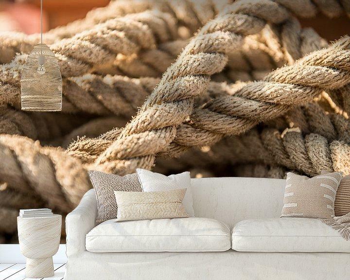 Sfeerimpressie behang: Touwen op een zeilboot van Barbara Koppe