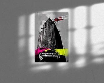 Popart car plane skyline von Rob van der Teen