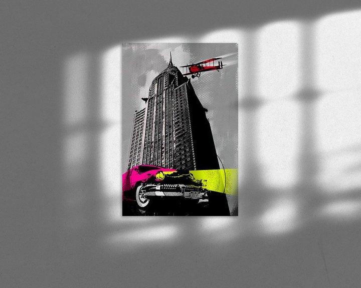 Sfeerimpressie: Popart car plane skyline van Rob van der Teen