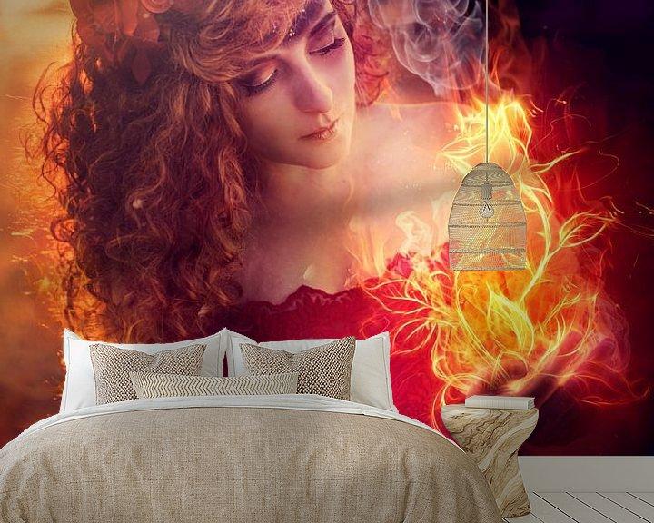 Sfeerimpressie behang: Flower girl van Cindy Stegeman