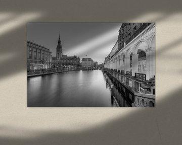 Hamburg Alsterarkaden und Rathaus schwarz-weiß von Michael Valjak