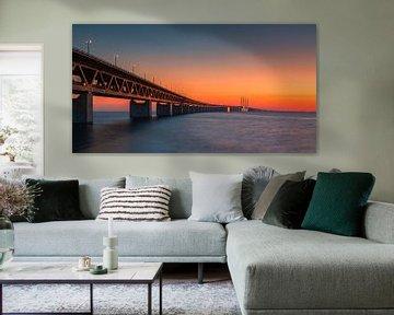 Panorama van een zonsondergang bij de Oresund Brug, Malmö, Zweden van Henk Meijer Photography