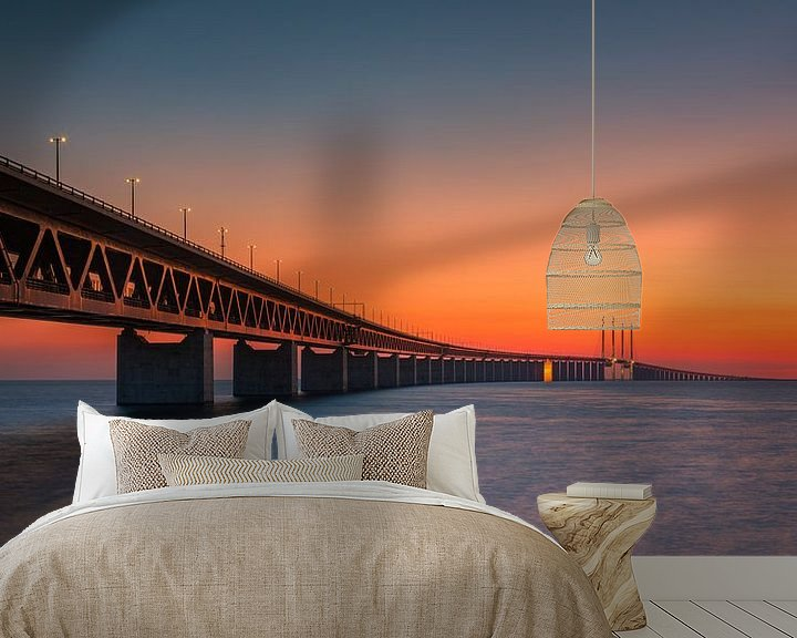Beispiel fototapete: Panorama eines Sonnenuntergangs an der Öresundbrücke, Malmö, Schweden von Henk Meijer Photography