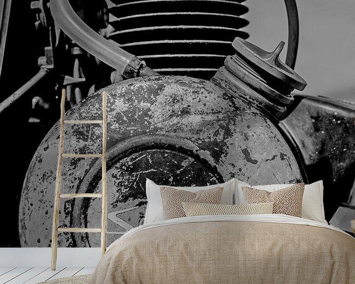 Sfeerimpressie behang: Solex motorblok zwart/wit van Peters Foto Nieuws l Beelderiseren