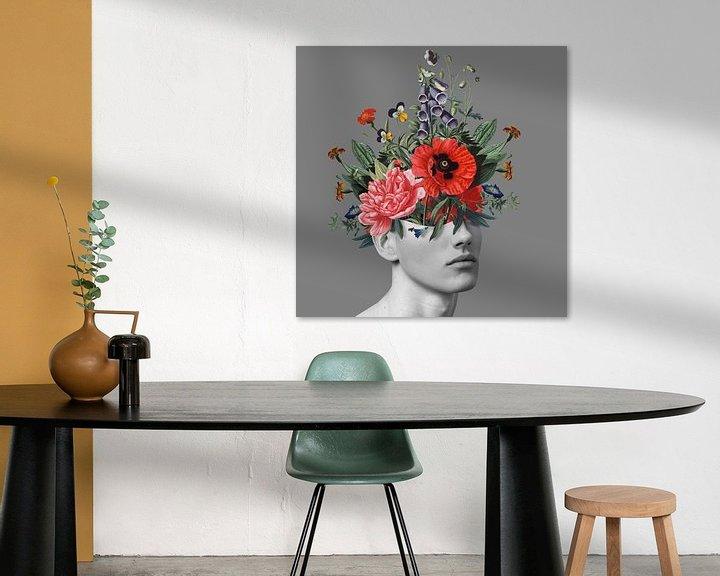 Beispiel: Zelfportret met bloemen 5 (grijs) von toon joosen