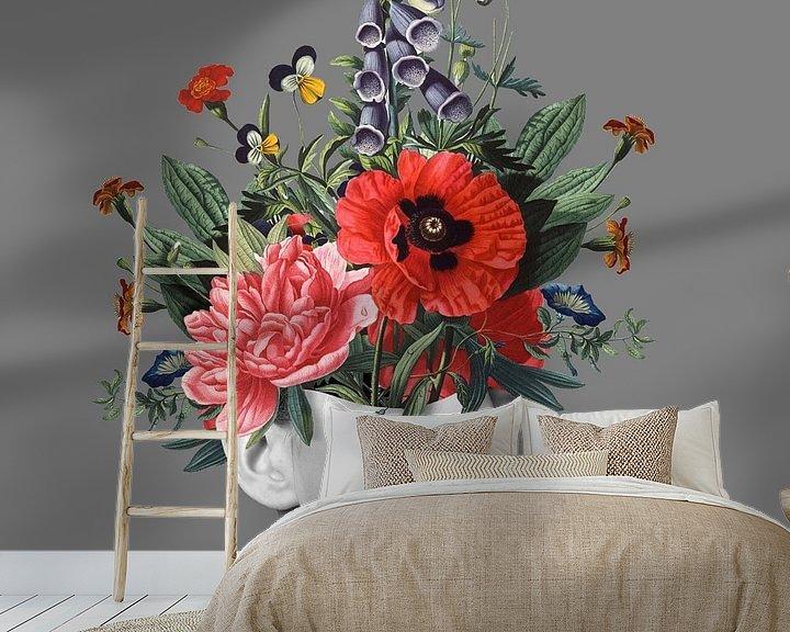 Beispiel fototapete: Zelfportret met bloemen 5 (grijs) von toon joosen