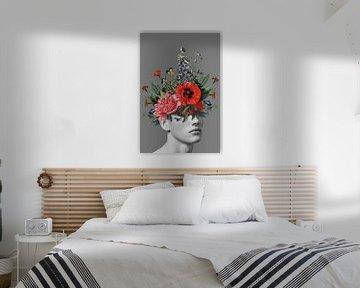 Zelfportret met bloemen 5 (grijs staand) van toon joosen