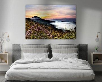 EL TEIDE met op staande zon en bewolking aan de horizon von Willy Van de Wiele
