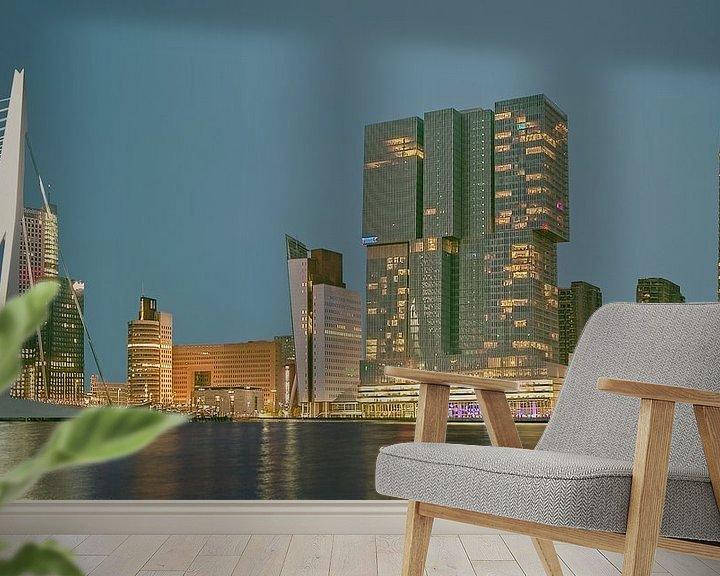 Sfeerimpressie behang: Rotterdam Rijnhaven nachtfotografie van Jerome Coppo
