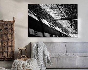 Trein en plafond Amsterdam Centraal Station van Bart Rondeel