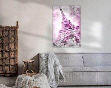 PARIS Eiffelturm | Aquarell pink von Melanie Viola