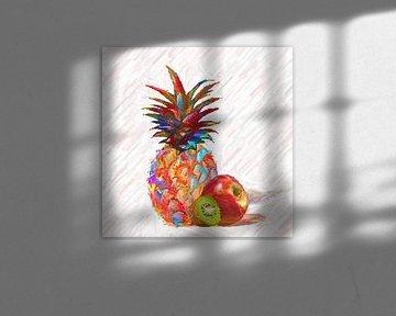 Kleurrijke ananas met appel