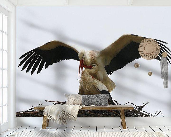 Sfeerimpressie behang: Vogel | Ooievaar van Larissa Bakker
