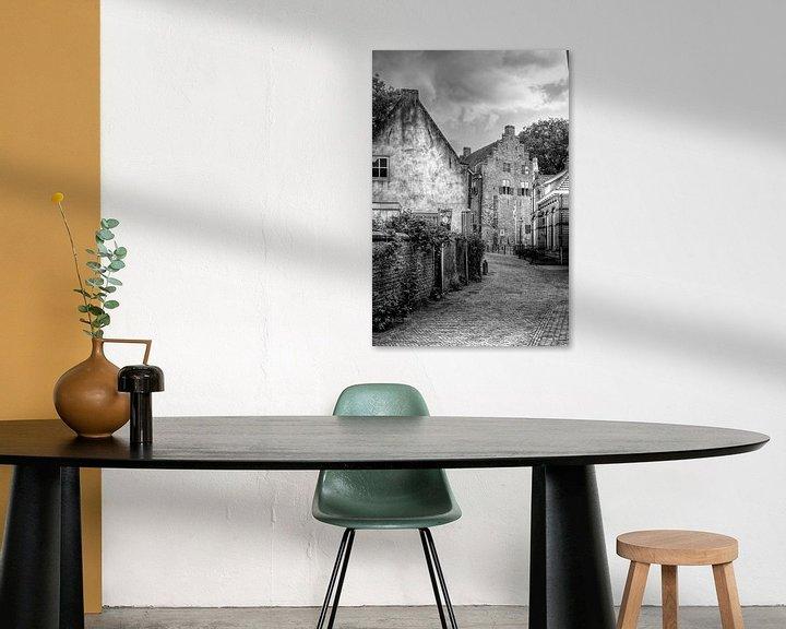 Sfeerimpressie: Muurhuizen historisch Amersfoort zwart-wit van Watze D. de Haan