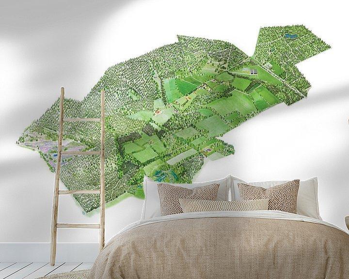 Sfeerimpressie behang: Landkaart van Tongeren - Versie 3 van Wereldkaarten.Shop