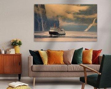 Ferry on the Geiranger Fjord in Noorwegen van Hamperium Photography