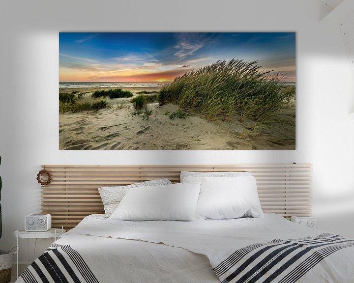 Sfeerimpressie: paal 15 - strand Texel - Duin zonsondergang van Texel360Fotografie Richard Heerschap