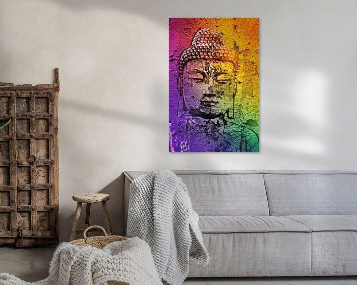 Sfeerimpressie: Boeddha op een muur van 2BHAPPY4EVER.com photography & digital art