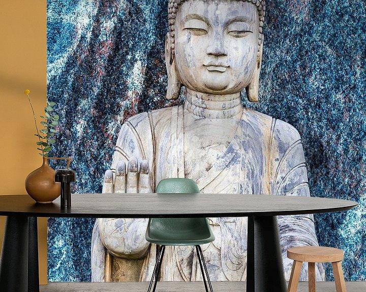 Sfeerimpressie behang: Boeddhabeeld voor een blauwe granieten muur van 2BHAPPY4EVER.com photography & digital art
