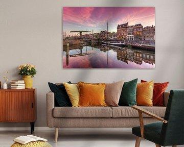 Malerische alter Hafen (Delfshaven) Rotterdam während Sonnenuntergang von Rob Kints