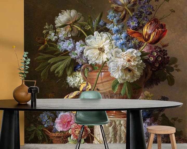 Impression: Nature morte de fleurs dans un vase d'albâtre, Gerard van Spaendonck, 1783 sur Roger VDB