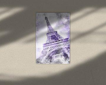 PARIJS eiffeltoren | aquarel paars van Melanie Viola