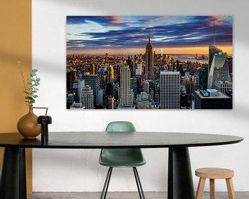 Zonsondergang over Manhattan, New York City van Kimberly Lans