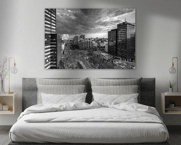 Churchillplein Rotterdam in zwartwit