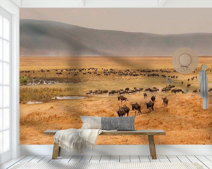Sfeerimpressie behang: Tanzania Ngorongoro Crater van Andrea Gulickx