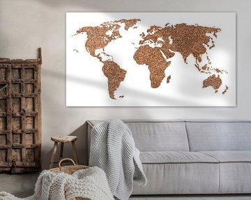 Weltkarte der echten Kaffeebohnen | Collage von Wereldkaarten.Shop