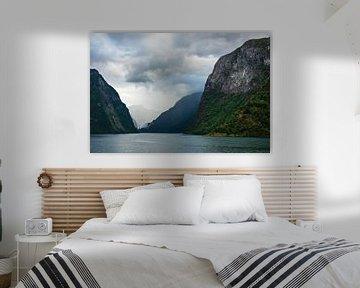 View to the Aurlandsfjord in Norway van Rico Ködder