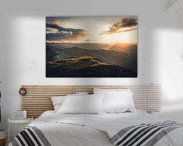 Zonsondergang in de Oostenrijkse alpen van Syo van Vliet