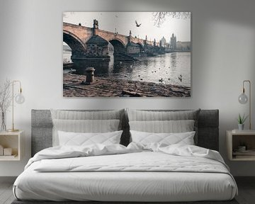 Praag: Karelsbrug zonnige zijkant. van Olaf Kramer
