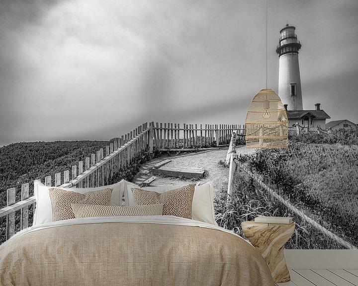 Sfeerimpressie behang: De vuurtoren van Pigeon Point (Grote Oceaan) van Remco Bosshard
