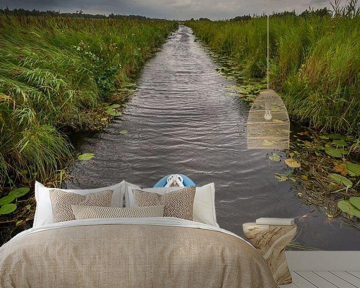 Sfeerimpressie behang: In een fluisterbootje door de Weerribben van Jenco van Zalk