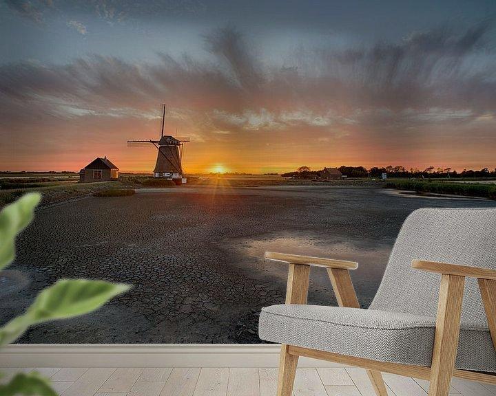 Sfeerimpressie behang: Poldermolen het Noorden op Texel van Johannes Stouten