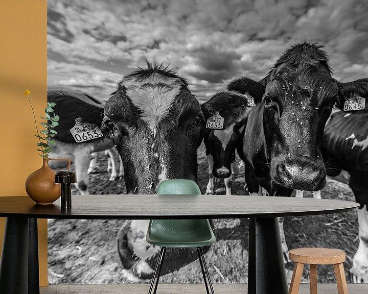 Sfeerimpressie behang: Twee Pinken, koeien van Tara Kiers