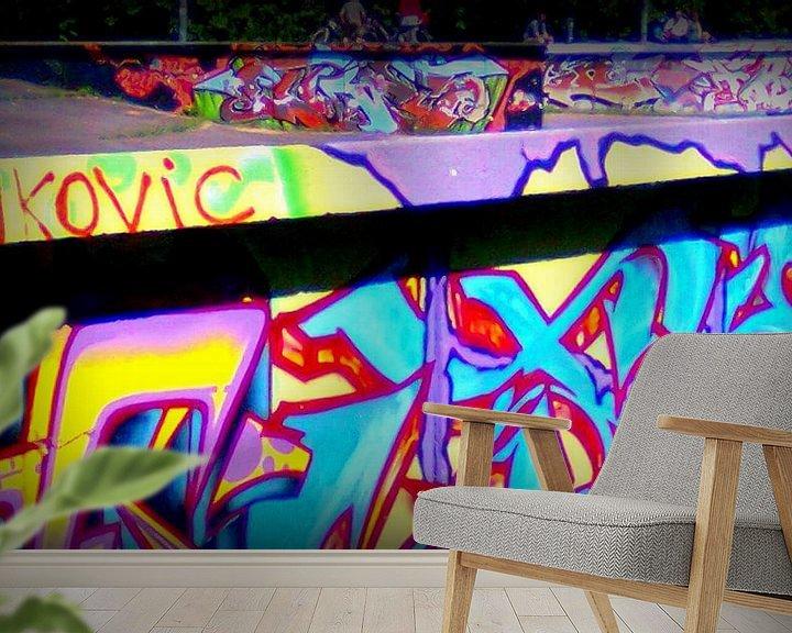 Sfeerimpressie behang: Graffiti skatebaan van Nicky`s Prints
