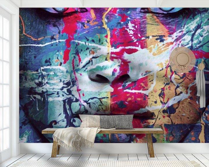 Sfeerimpressie behang: Just Face - 100 Splash Pop Art van Felix von Altersheim