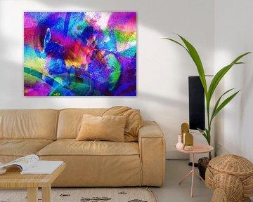 Modern, Abstract Digitaal Kunstwerk – Lick The Rainbow van Art By Dominic