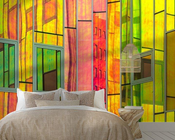 Sfeerimpressie behang: L'arc en Ciel kleuren en reflecties van Cynthia Hasenbos
