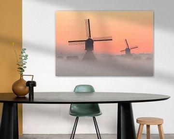 2 schöne Windmühlen in Netherland von Jos Pannekoek