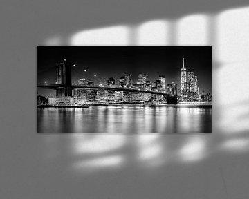 New York, Brooklyn Bridge (zwart-wit) van Sascha Kilmer