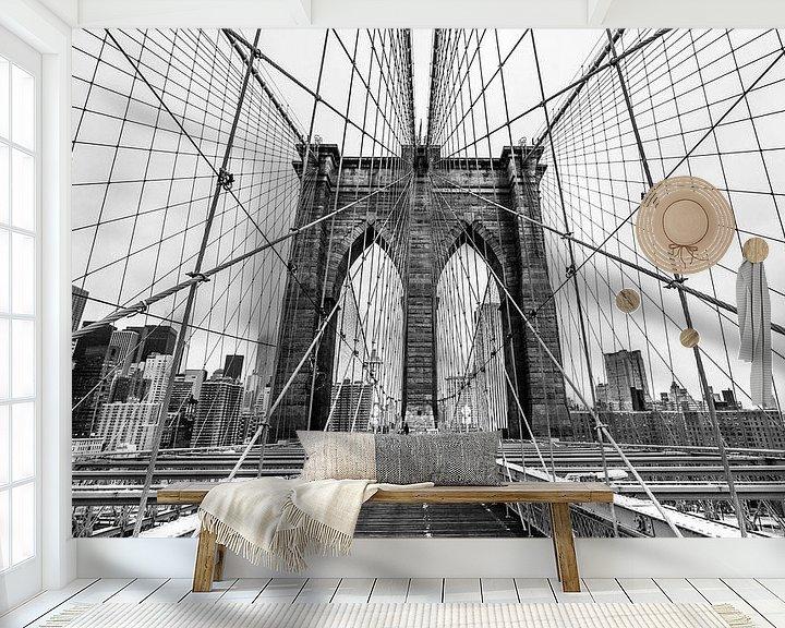 Beispiel fototapete: Brooklyn Bridge - New York (schwarz weiß) von Sascha Kilmer
