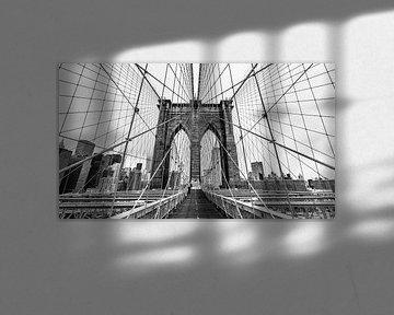 Brooklyn Bridge - New York (zwart-wit) van Sascha Kilmer