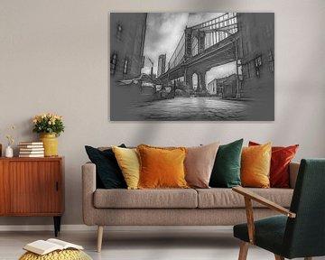 Manhattan Bridge - Grafische schets van Joris Pannemans - Loris Photography